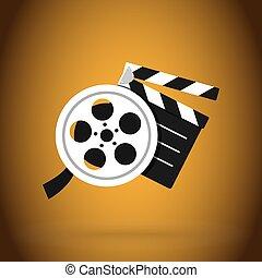 vector, diseño, simple, cine, badajo, vídeo, illustration., película, tape., moderno
