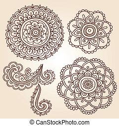 vector, diseños, mandala, alheña, flor
