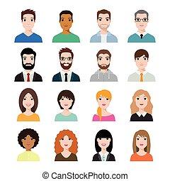 vector, diverso, (use, avatar, iconos, perfil, conjunto, caras, social, ilustración, gente, characters., network), plano, diseño