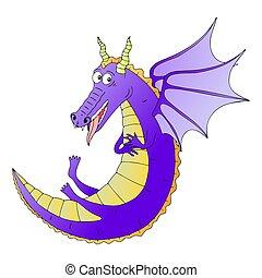 vector, dragón, ilustración