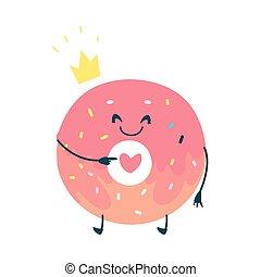 Vector dulce personaje de donuts rosado humanizado