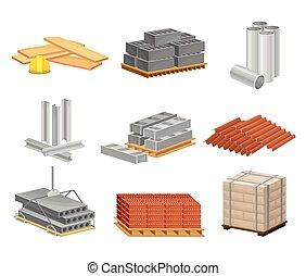 vector, edificio, como, ladrillos, materiales, conjunto construcción, arena