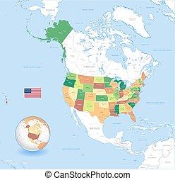 Vector EE.UU. Un mapa clásico de alto detalle