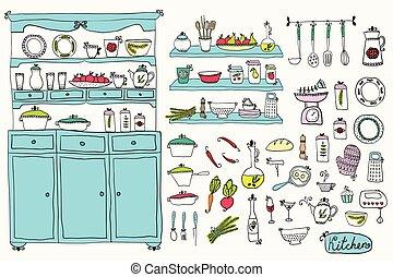 vector., elementos, diseño, cocina, conjunto, kitchen.