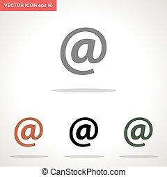 vector, email, símbolo, blanco, icono, aislado, plano de fondo