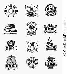 vector, emblemas, beisball, pegatinas, coloreado, conjunto, insignias