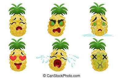 vector, emociones, divertido, vario, ilustración, carácter, conjunto, piña, caricatura