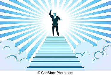 vector, escaleras, cima, subida, nube, rayo de sol, exitoso, ilustración, hombre de negocios, mano
