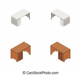 vector, escritorio de oficina, blanco, ilustrado, plano de fondo, icono