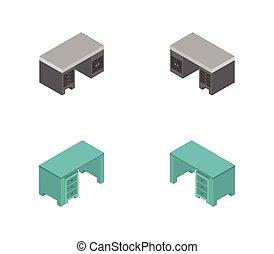 vector, escritorio, plano de fondo, icono, ilustrado, blanco