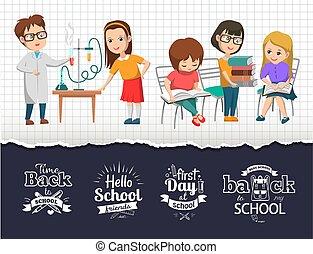 vector, escuela, tiempo, imagen, espalda, clase de química