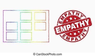 Vector espectro pixelado icono de células de grilla y sello de empatía de angustia