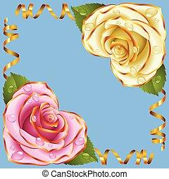 Vector esquina vignette. Rosa y rosa blanca y cintas doradas