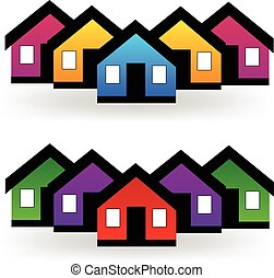 Vector estableció casas en el logotipo de bienes raíces