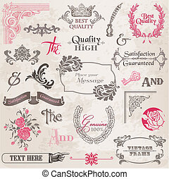 Vector establecido: elementos de diseño calígrafo y decoración de páginas, colección de cuadros de cuadros con flores