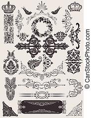 Vector establecido: elementos de diseño calígrafo y decoración de páginas