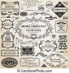 Vector establecido: elementos de diseño calígrafos de Navidad y decoración de páginas, marcos antiguos