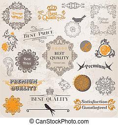 Vector establecido: elementos de diseño caligrafico y decoración de páginas, colección de etiquetas con flores