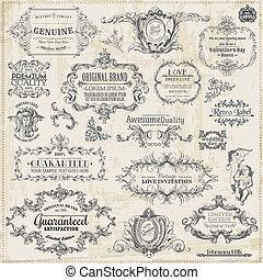 Vector establecido: elementos de diseño caligrafico y decoración de páginas, colección de marcos