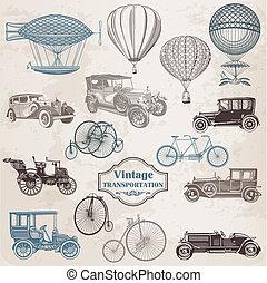 Vector establecido: transporte añejo, colección de ilustraciones pasadas de moda