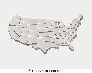 vector, estados unidos, mapa, 3d