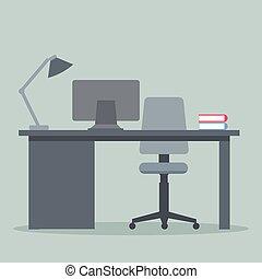vector, estudiante, computadora, escritorio, diseño