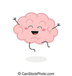 vector, excitado, cerebro, caricatura, feliz, ilustración, carácter