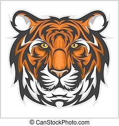 vector, face., tigre, head., tigres, ilustración