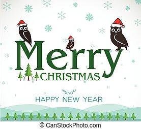 Vector Feliz Navidad Tarjeta de felicitación de búho en el fondo blanco, Feliz Navidad