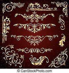 Vector floral de adornos dorados, elementos decorativos como banderas, marcos, divisores, adornos y patrones en el fondo oscuro. Remolinos caligráficos dorados