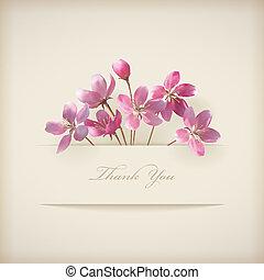 "Vector floral de primavera ""Gracias"" tarjeta rosa"