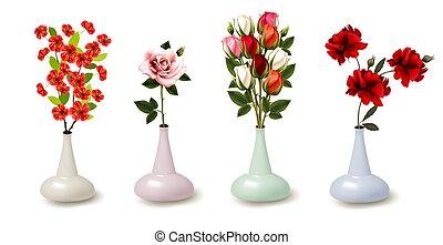 vector, flores, primavera, verano, colorido, vases., colección