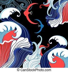 Vector, fondo del mar abstracto con olas A