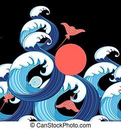 Vector, fondo del mar abstracto con olas y rayos