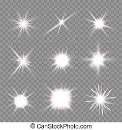 vector, fondo., encima, destellos, conjunto, ilustración, transparente, luz