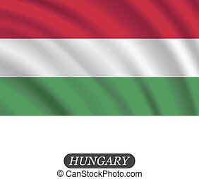 vector, fondo., hungría, ondulación, blanco, ilustración, bandera