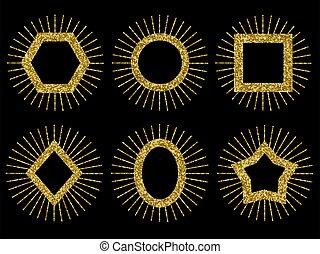 vector, fondos, marcos, set., feriado, oro, lentejuelas