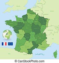 Vector francés mapa administrativo verde