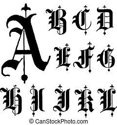 vector, fuente, gótico, medieval, a-l