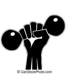 vector, fuerte, club, estilizado, weightlifting, gimnasio, logotipo, deporte, emblema, retro, o, badge., mano, fist., condición física, barra con pesas