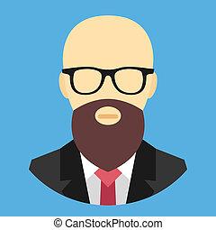 vector, glas, calvo, barba, hombre