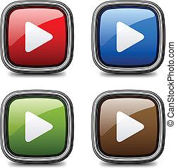 Vector Glossy Media juega botones