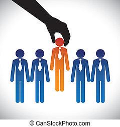 vector, gráfico, concepto, habilidades, graphic-, compañía, competir, mismo, opción, candidate., persona, trabajo, derecho, candidatos, muchos, elaboración, hiring(selecting), poste, mejor, exposiciones