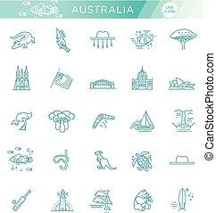 Vector gráfico. Cultura australiana, animales, tradiciones. Firma, elemento, emblema, símbolo