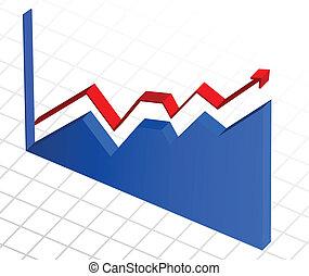 Vector, gráfico de crecimiento de ganancias de negocios