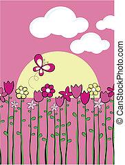 Vector gráfico infantil de primavera
