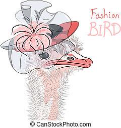 Vector gracioso avestruz avestruz i