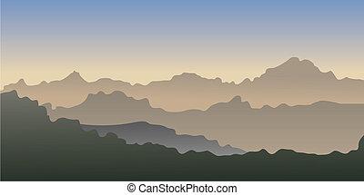 vector, gradiente, montañas.