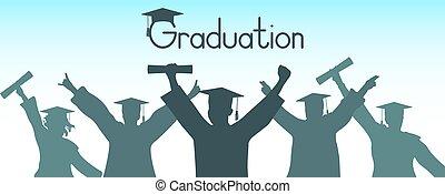 vector, graduados, ilustración, ropa, graduación, alegre, silhouette.
