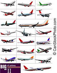vector, grande, conjunto, ilustración, airlines.